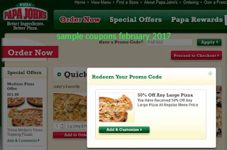 Papa Joes Pizza coupons for february 2017