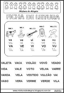 Ficha leitura família silábica V