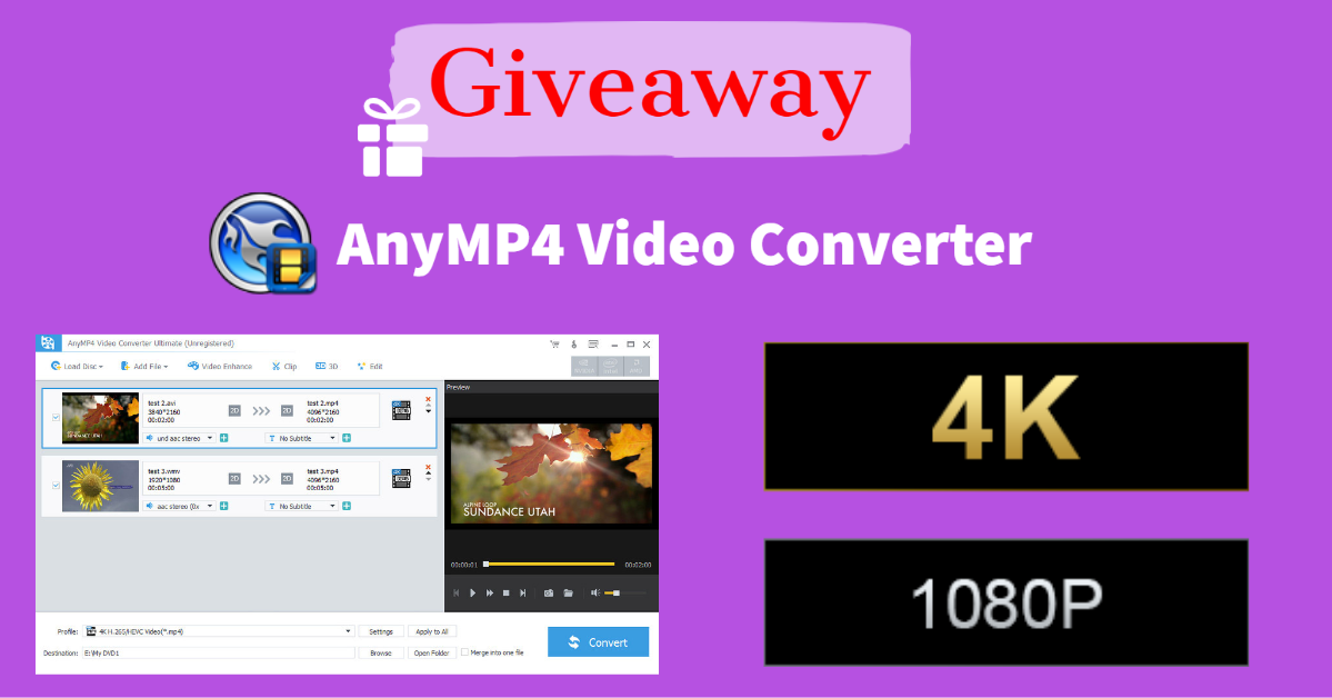 Giveaway: AnyMP4 Video Converter
