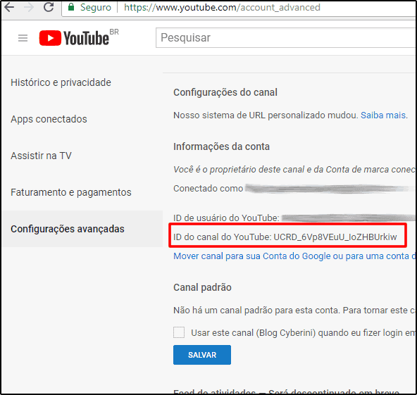 ID do canal no menu de configurações avançadas do YouTube