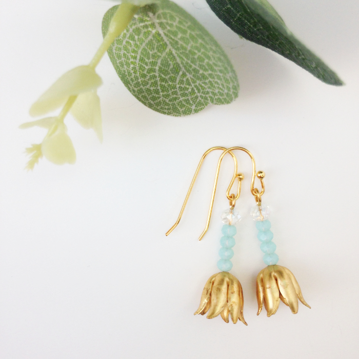 delicate gold tulip earrings blue crystal - great for alternative brides