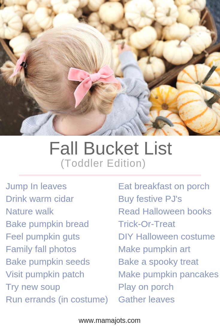 fall bucket list. toddler