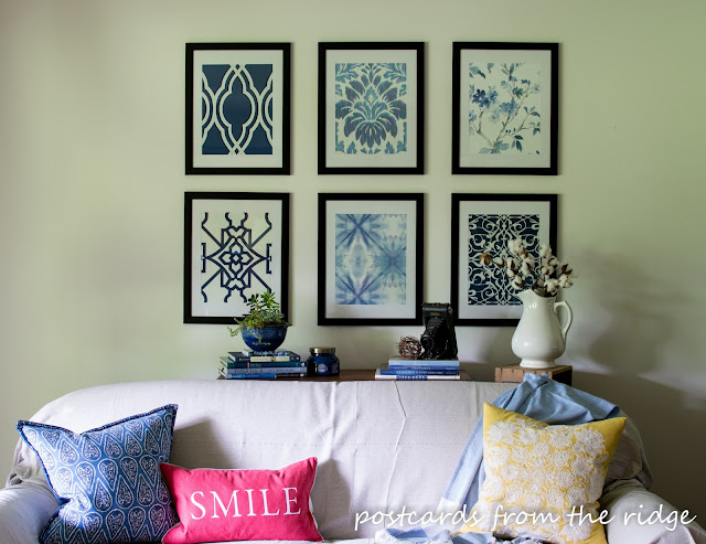 Here's a set of artwork inspired by Pottery Barn but for a fraction of the price. Easy to DIY. Postcards from the Ridge.