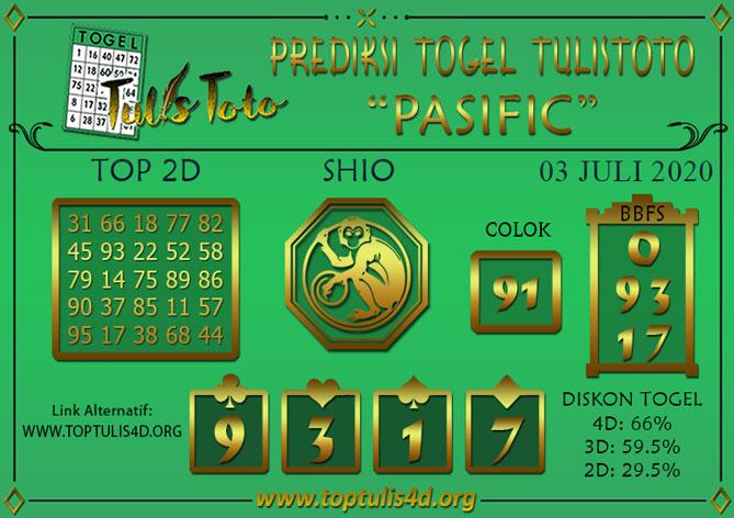 Prediksi Togel PASIFIC TULISTOTO 03 JULI 2020