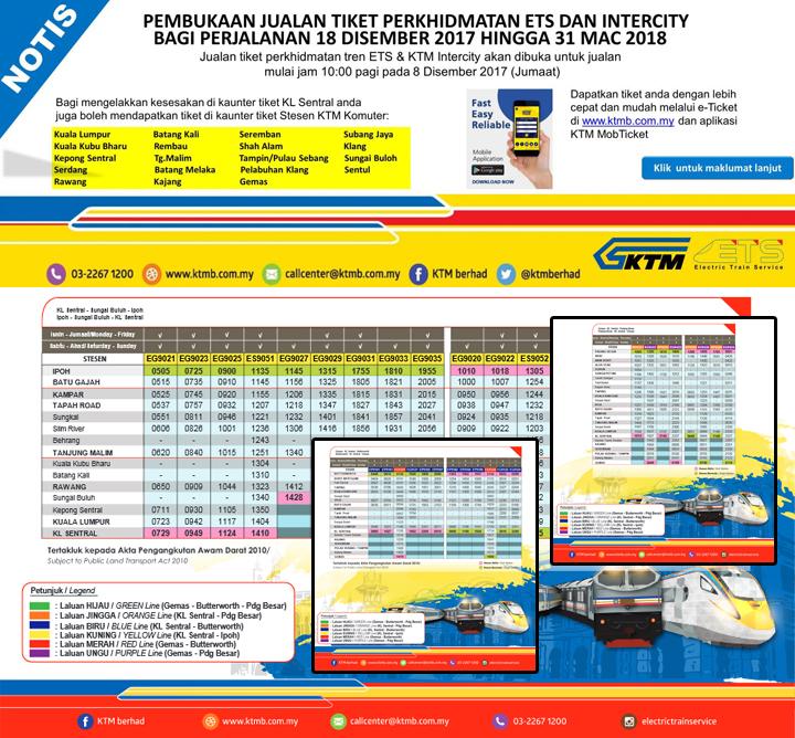 Jadual Perjalanan KTM ETS dan Intercity Terkini Mulai 18 Disember 2017