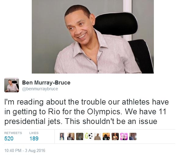 Senator Ben Murray-Bruce reacts to stranded U-23 Eagles at Olympics