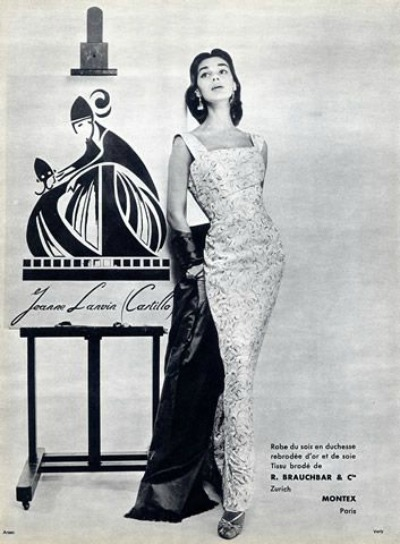 Model in Jeanne Lanvin (Castillo) Evening Gown. Photo by Guy Arsac 1955