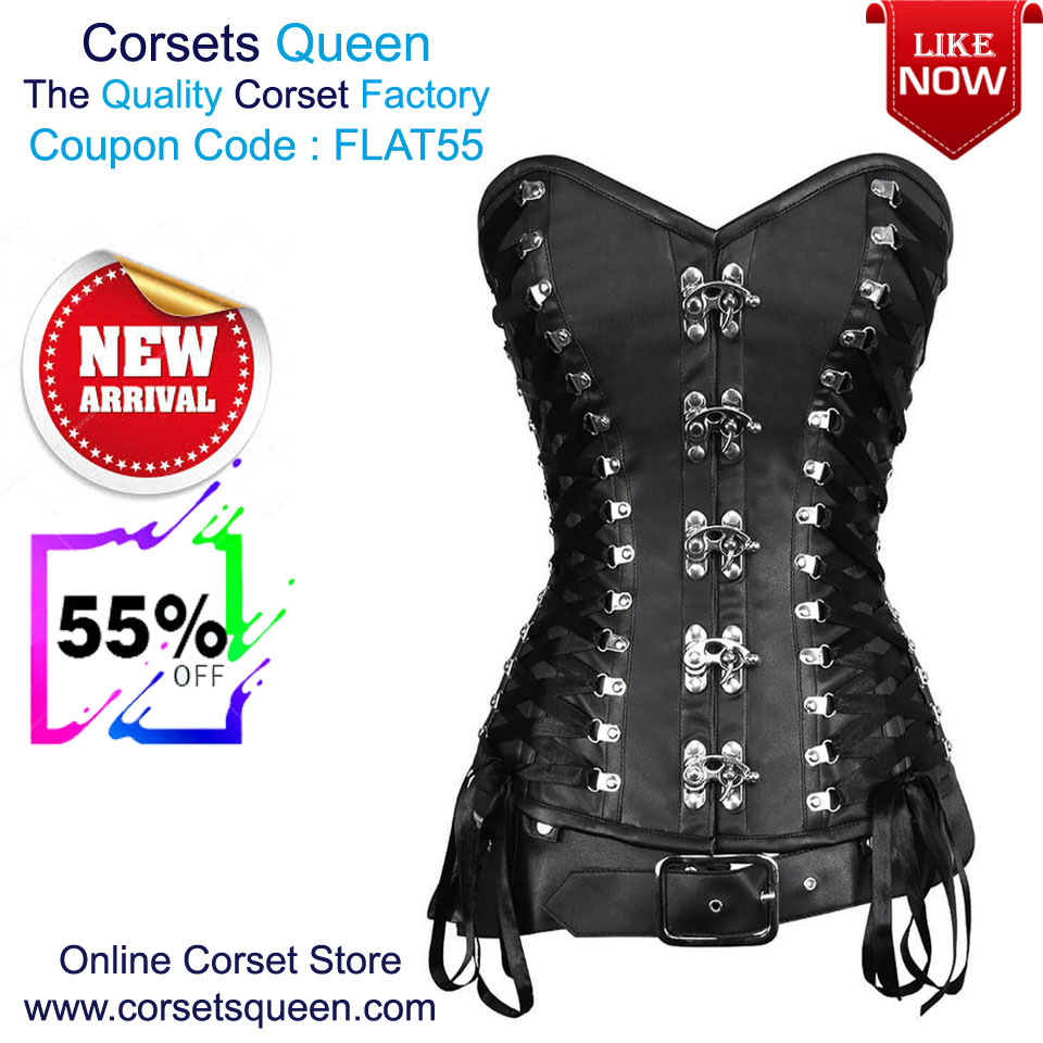 4bdd767d108 Faux Leather Corset Sale - Flat 55% OFF Ruperta Criss Cross Black Overbust  Corset with Detachable Belt USA- https   tinyurl.com ybtx7t34