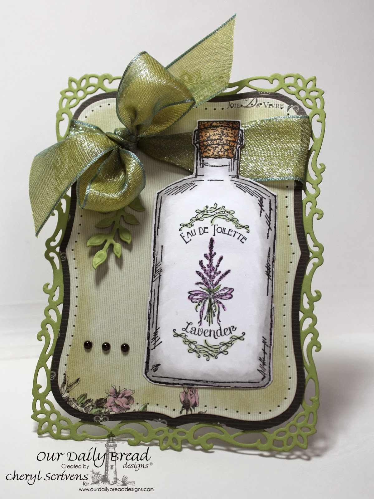 Our Daily Bread Designs, CherylQuilts, Apothecary Bottles, Lavender, ODBD Custom Apothecary Bottles Dies, ODBD Custom Fancy Foliage Dies