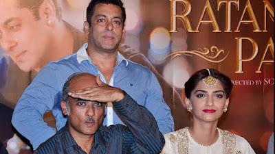 फ़िल्म 'प्रेम रतन धन पायो' के ट्रेलर लॉन्च के दौरान सलमान ख़ान, सूरज बड़जात्या और सोनम कपूर।