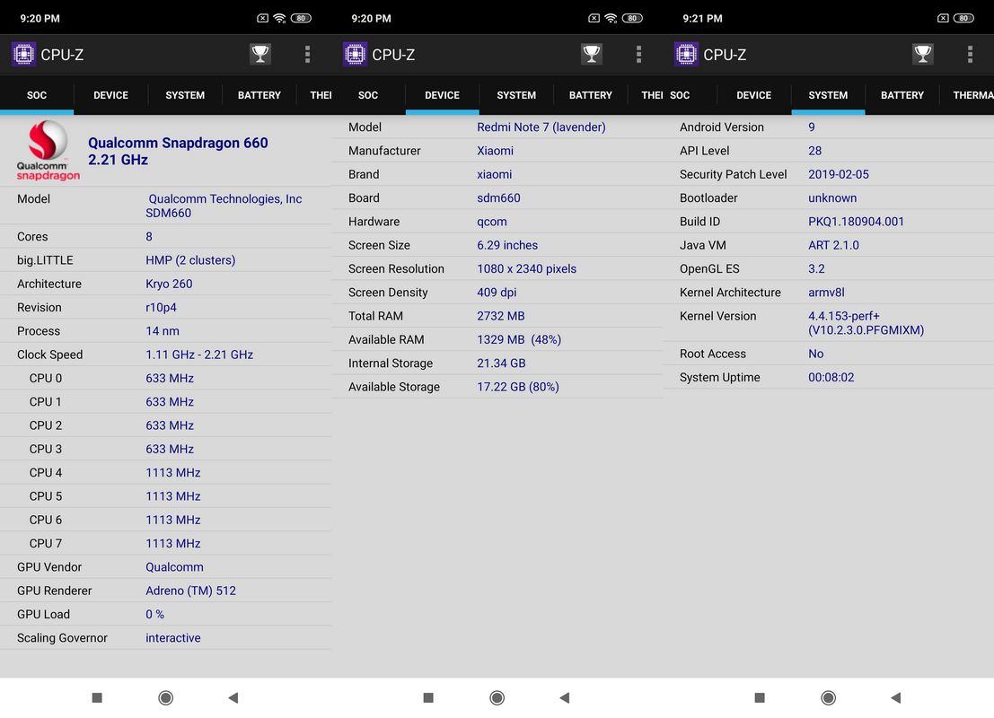 CPU-Z Xiaomi Redmi Note 7