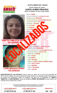 Desactivan Alerta Amber a dos menores desaparecidos en Xalapa Veracruz