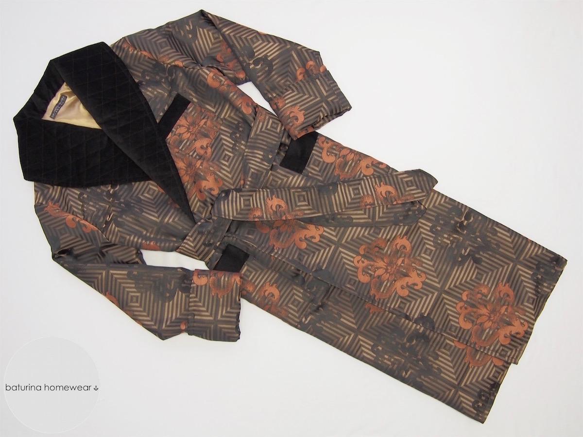 Men\'s Jacquard Silk Velvet Robe in Gold and Black Baroque Art Deco Style