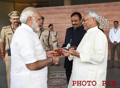 Prime Minister, Narendra Modi with CM Nitish Kumar in Bihar