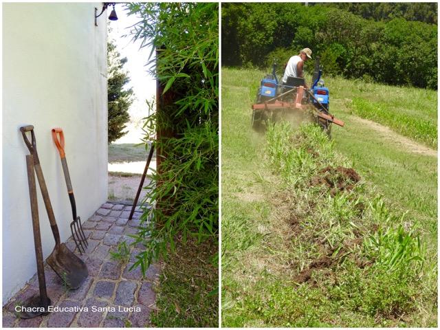 Las herramientas reposan mientras el tractor trabaja en los canteros - Chacra Educativa Santa Lucía