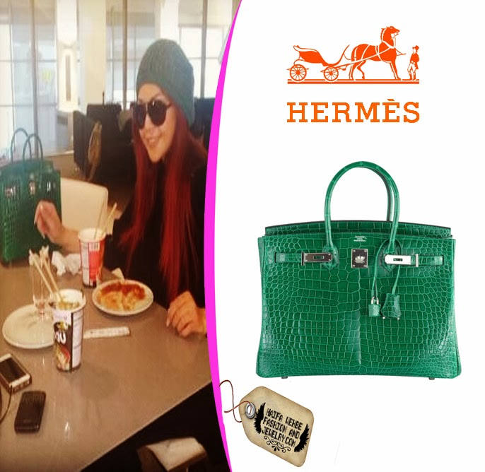 Haifa Wehbe as spotted carrying this Emerald green crocodile 35 CM Hermes  Birkin Bag while she was in an airport in France. Haifa s Birkin Bag is one  of a ... 463d7e2bffcde