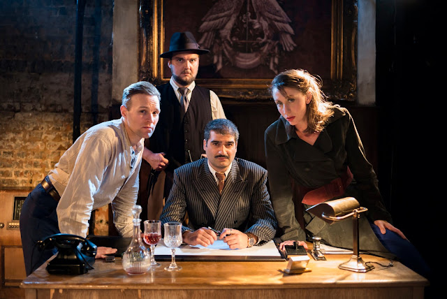 Puccini: Tosca - Roger Paterson, Thomas Isherwood, Michael Georgiou, Becca Marriott  - King's Head Theatre (Photo Nick Rutter)