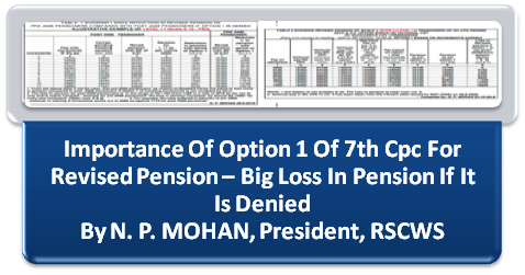 Importance of Option 1 of 7th CPC For Revised Pension – Big loss in Pension if it is denied