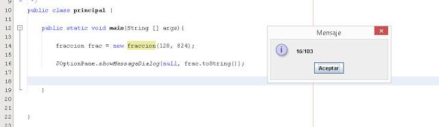 mostramos el resultado final que arrojan los métodos de la clase fracción