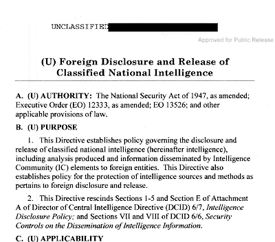 Foreign Disclosure of U.S. Intelligence