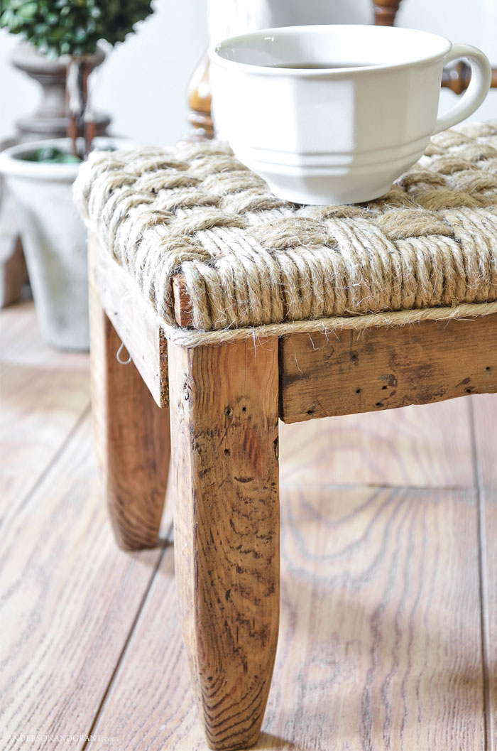 rustic wood footstool gets a makeover