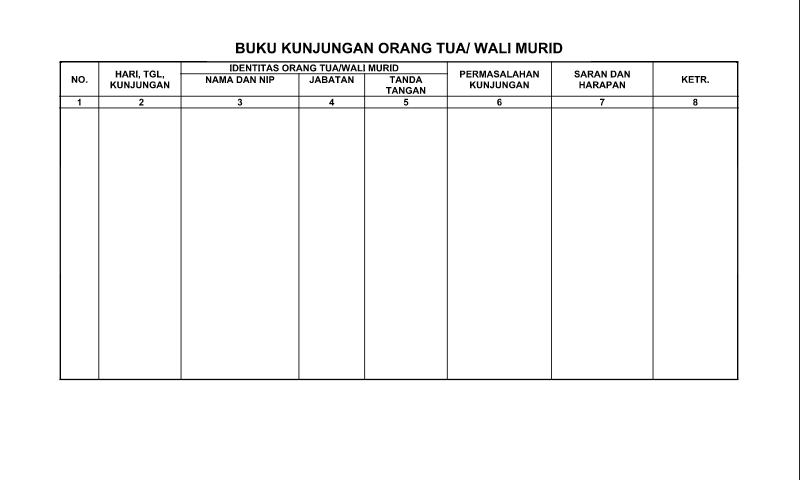Contoh Format Bentuk Buku Kunjungan Orang Tua Wali/Murid untuk Perlengkapan Administrasi TU (Tata Usaha) Sekolah