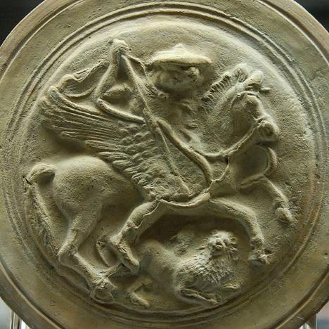 Belerofonte enfrentando a Quimera - Gravura em terracota do século 3 A.C.