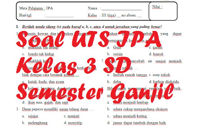 Soal UTS IPA Kelas 3 SD Semester 1 [Tahun Pelajaran 2019/2020]