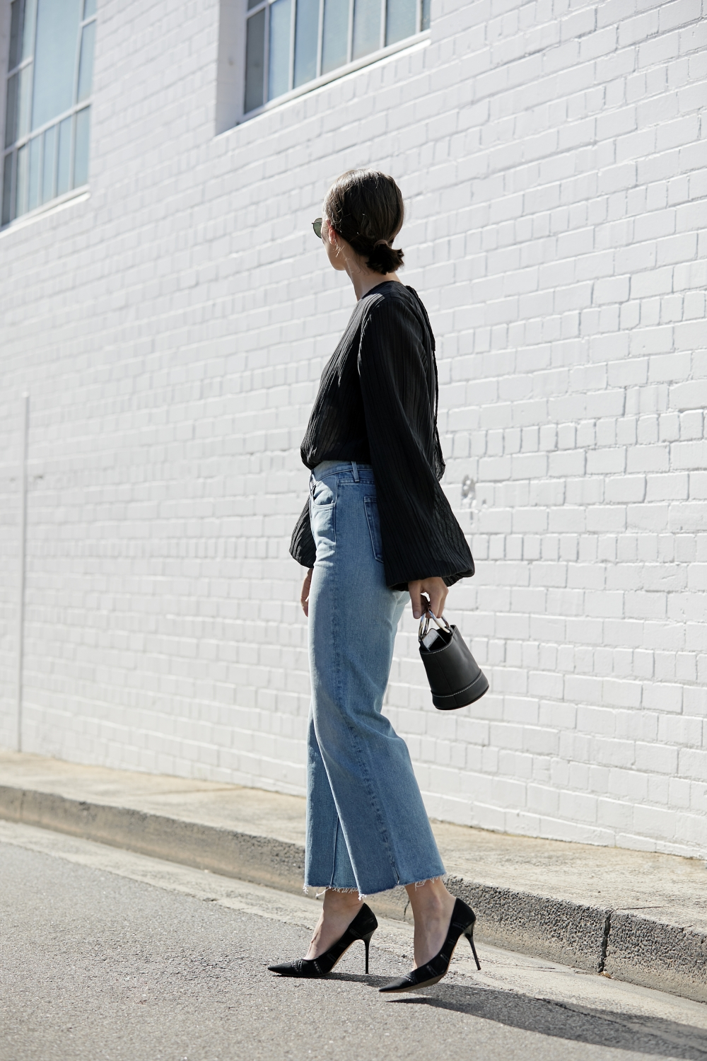 Affordable Under-$100 Date Look — Balloon Sleeve Top, Ring Handle Bag, Cropped Wide-Leg Jeans, Black Heels