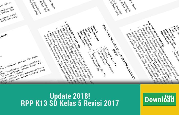 RPP K13 SD Kelas 5 Revisi 2017