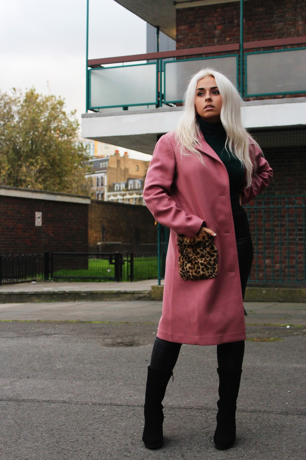 Pink ASOS duster coat