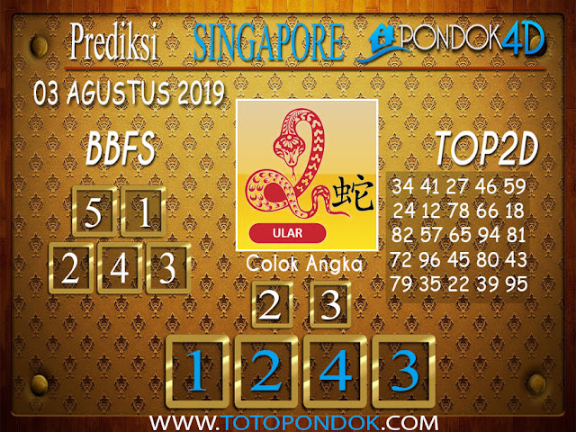 Prediksi Togel SINGAPORE PONDOK4D 03 AGUSTUS 2019