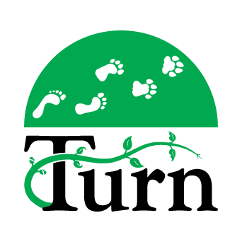 The Turn logo with a vine growing out of the T in the word Turn, with leaves in various stages of growth, and above it a half circle with footsteps transitioning from human to beast