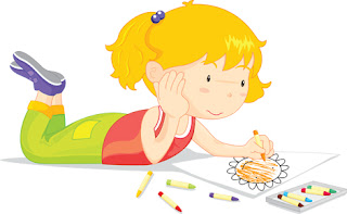 Clipart Image of a Little Girl Colouring