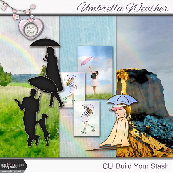 Umbrella Weather ~ Pixelscrapper Blog Train