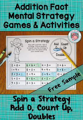 This free sample, Spin a Strategy partner game, is designed for discriminating between the Add 0, Count Up, and Doubles addition fact strategies. It is ideal for use with first and second grade students who are developing addition fact fluency.