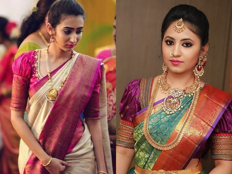 3b5775a271 Puff sleeves are a very safe choice when it come to silk saree blouse  designs. Women still are going for classic puff sleeves but the latest saree  blouse ...