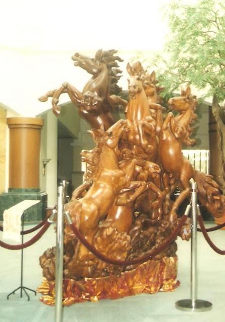 large wooden sculptures