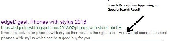 Search description snippet