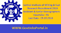 Central Institute of Mining & Fuel Research Recruitment 2016