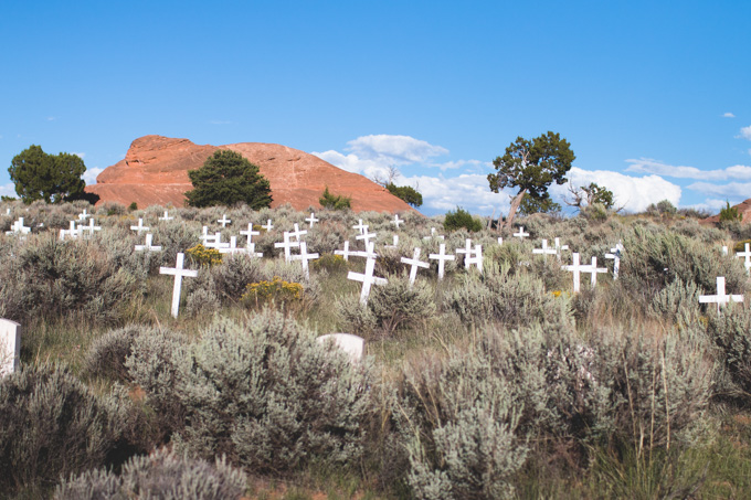 white crosses, cemetery, new mexico