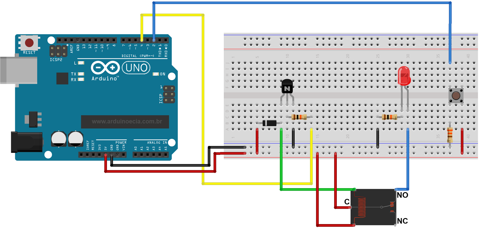 Circuito Arduino Relé push button