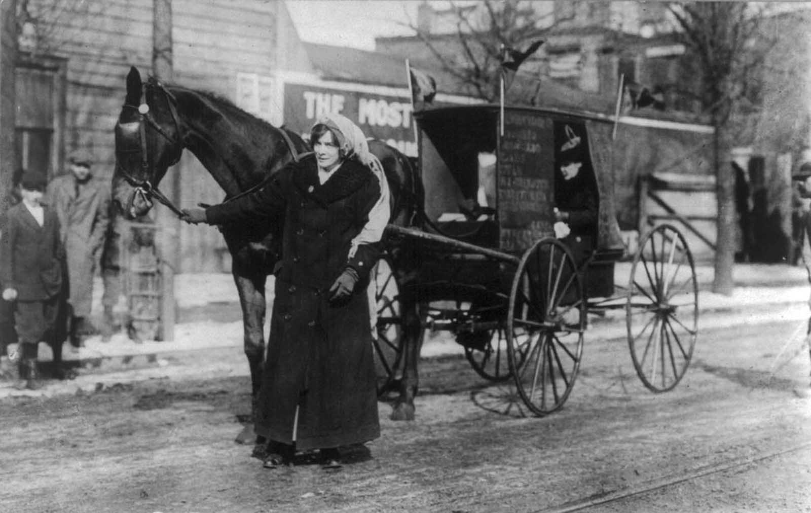 Elizabeth Freeman of the New York State Suffrage Association, with horse and carriage, on her way to join the March 3, 1913 suffrage march in Washington, District of Columbia.