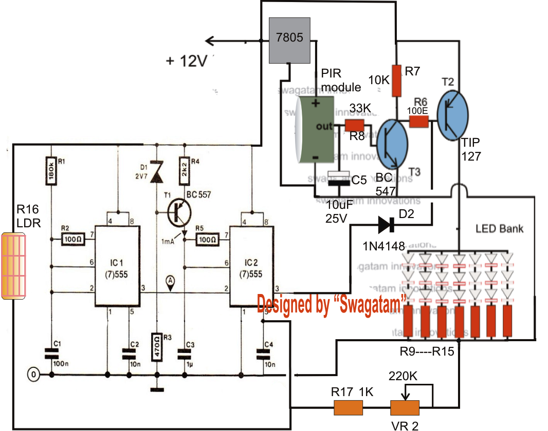 Home Power Saver Circuit Diagram Maytag Refrigerator Wiring Energy Saving Automatic Led Light Controller