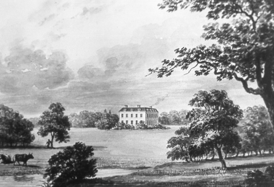Drawing of Brookmans House by Buckler, 1840 Image courtesy of Hertfordshire County Records Office (HCRO)