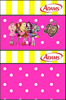 Etiquetas para chicles Adams de Ever After High Amarillo y Rosa para imprimir gratis.