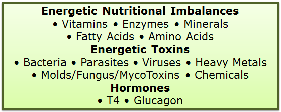 Energetic Nutritional Imbalances Energetic Toxins Hormones lists