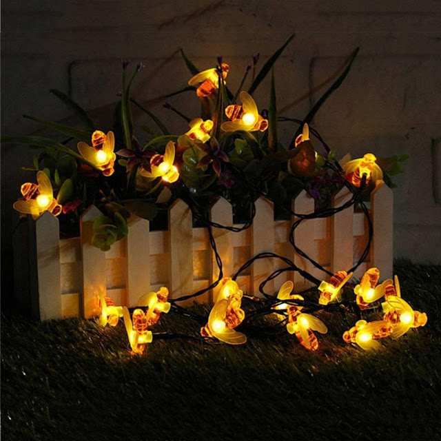 30 Honeybee Solar Powered 15ft LED Decorative Lights
