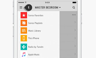 image of sonos settings menu list