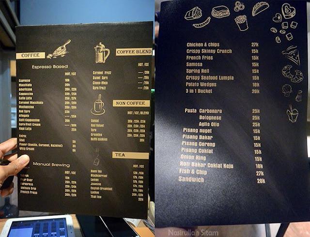 Daftar menu dan harga di kedai Homi Coffee